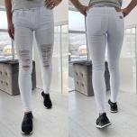 Valged katkised stretch teksapüksid