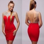 Punane kivikestega kleit