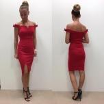 Punane off sholder midi kleit