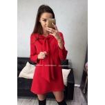Punane A lõikeline eest lipsuga kleit