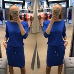 Sinine Casual kleit taskutega(keskelt nööriga reguleeritav)