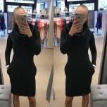 Must kõrgema kraega casual kleit