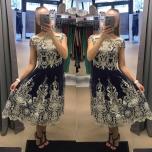 Tumesinise/Hõbedaga luksuslik pikem skater kleit