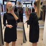 Must A-lõikeline kleit(tagant paelaga seotav)