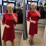 Punane A-lõikeline kleit(varrukatel lipsud)