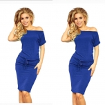 Sinine lühikese varrukaga taskutega casual kleit(keskelt nööriga reguleeritav)