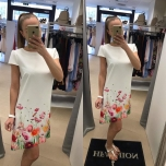 Valge/Lilleline A-lõikeline kleit