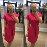 Fuksiaroosa vööga kleit
