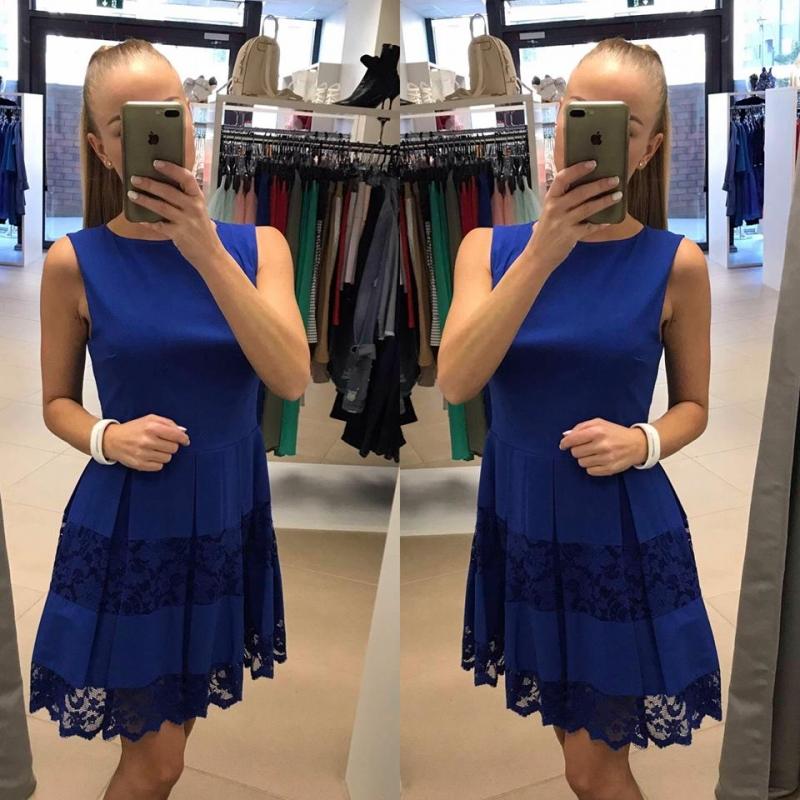 1b7f967f7a3 Sinine pitsiga skater kleit @ Pidulikud ja igapäevased naisteriided!