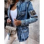 Sinine taskutega teksajakk( keskelt nööriga reguleeritav)