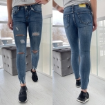 Sinised katkised stretch teksapüksid