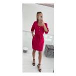 Punakas/roosa vööga ja taskutega kleit