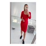 Punane pikavarrukaga midi kleit,lõhikuga