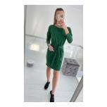 Roheline keskelt vööga seotav casual kleit