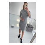 Hall/Hõbedane midi kleit kõrgema kraega