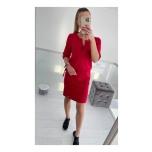 Punane kolmveerand varrukaga casual kleit(keskelt nööriga reguleeritav)