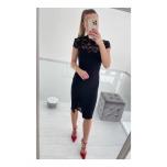 Must kõrgema kraega midi kleit
