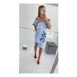 Helesinise/Lillelise kirju volangidega midi kleit