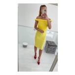 Off shoulder kollane midi kleit