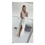 Valge lõhikuga pikk kleit