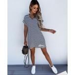 Sinise/Valge triibuline vabalt langev kleit
