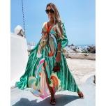 Rohelise kirju pikk kleit