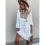 Valge boho stiilis vabalt langev kleit