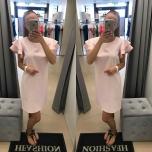 Heleroosa ,õlal satsid A-lõikeline kleit