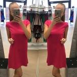 Fuksiaroosa lühikese varrukaga kleit