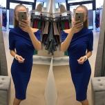 Sinine lühikese varrukaga midi kleit