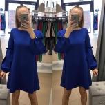Sinine A-lõikeline pika varrukaga kleit