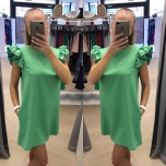 Roheline A-lõikeline kleit