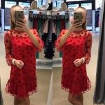 Punane lilledega vabalt langev kleit