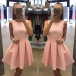 Heleroosa taskutega skater kleit