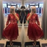 Punane luksuslik pikem skater kleit