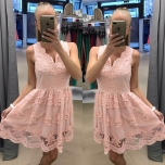 Heleroosa pitsist skater kleit