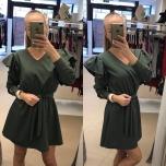 Khaki kleit vööga,keskel kumm,õlal volangid