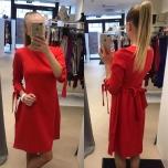 Punane A-lõikeline kleit(tagant paelaga seotav)