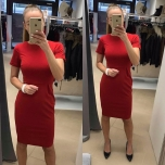 Punane lühikese varrukaga midi kleit