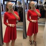 Punane kolmveerand varrukuga skater kleit( tagant pikem)