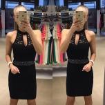 Must kleit,pitsiga(rinna osa ja selg pitsist)