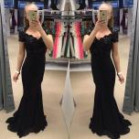 Must lühikese varrukaga pikk kleit