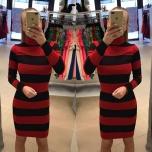 Punase/musta triibuline kleit,kõrge kraega