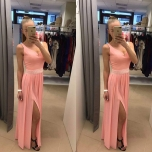 Aprikoosi tooni pikk kleit(kaasas pärlivöö)