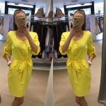 Kollane vööga ja taskutega kleit