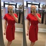 Punane vööga kleit