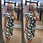Musta-valge kirju vööga kleit